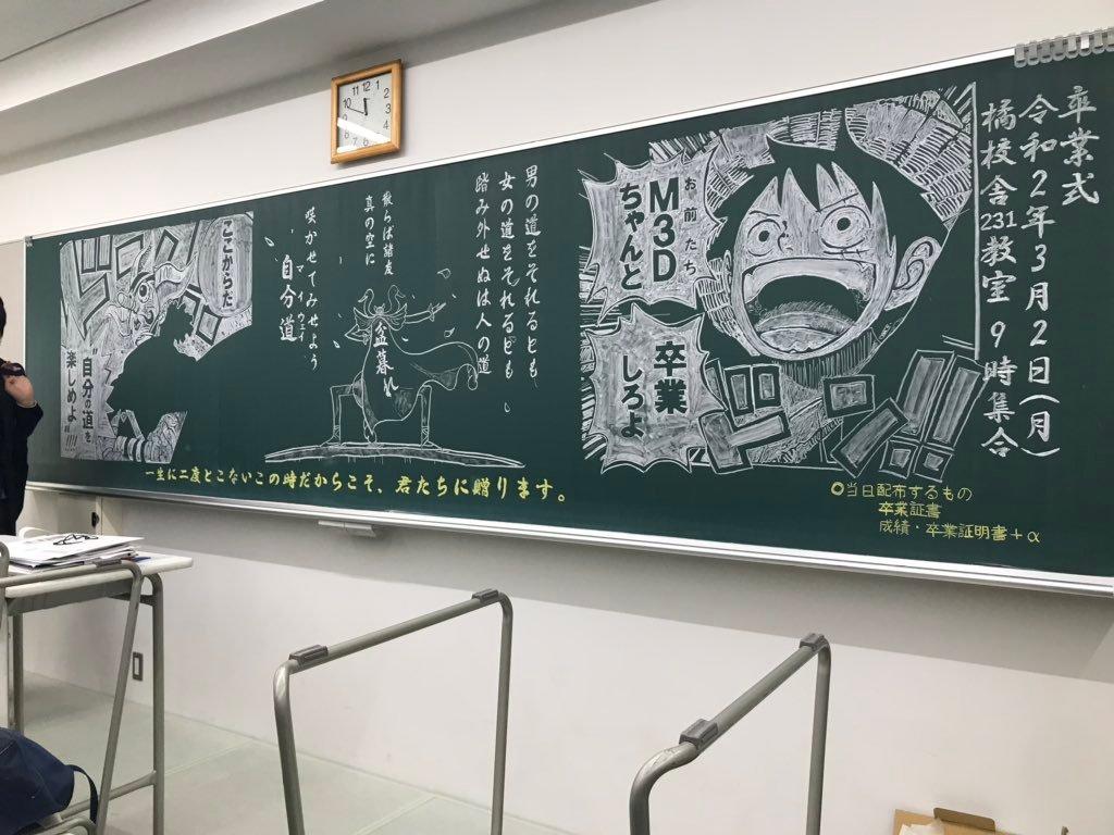 海贼王 毕业黑板绘