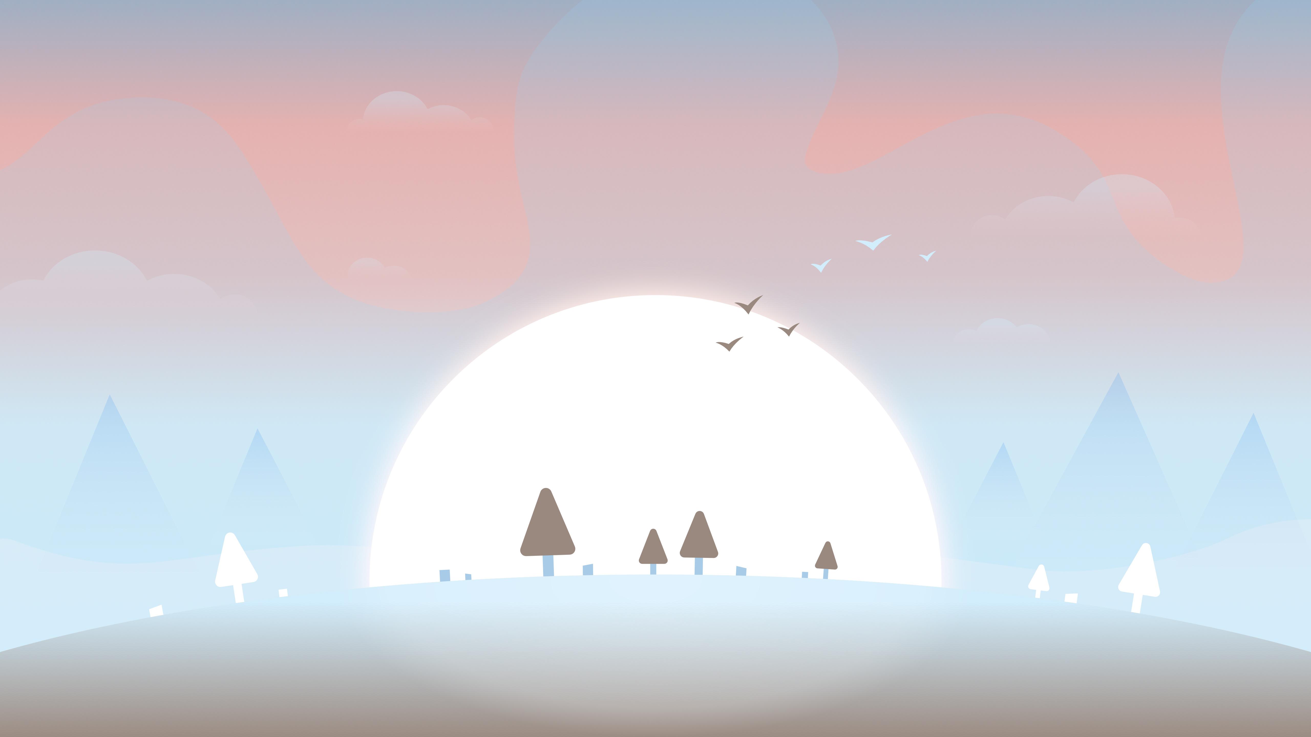 天空 太阳 树 鸟儿