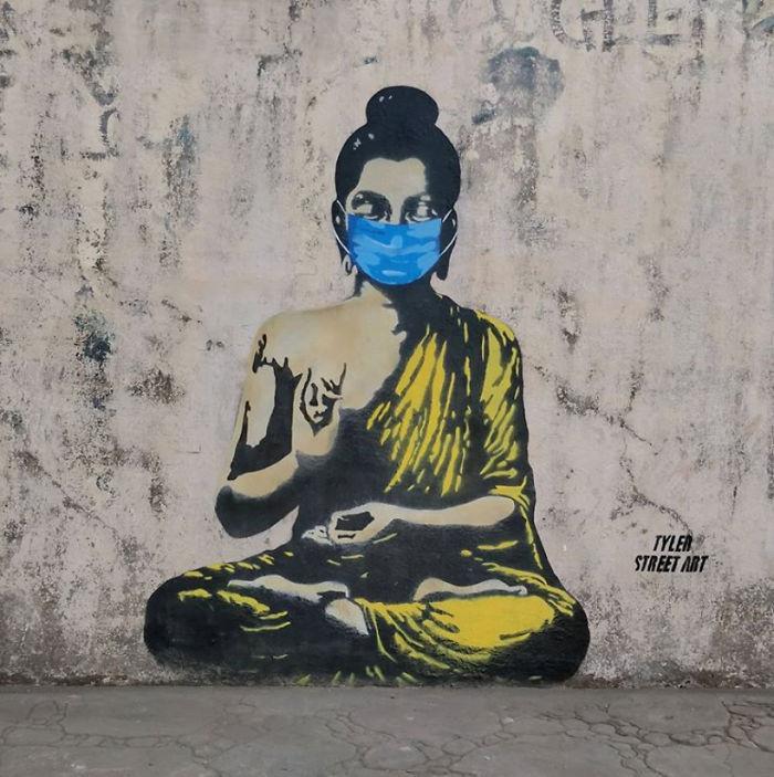 全球新冠肺炎疫情下世界各地的街头涂鸦艺术插图(8)