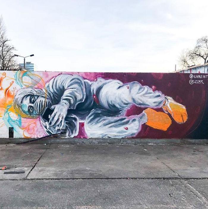 全球新冠肺炎疫情下世界各地的街头涂鸦艺术插图(15)