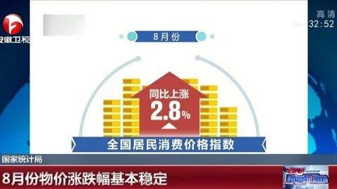 8月份物价涨跌幅基本稳定