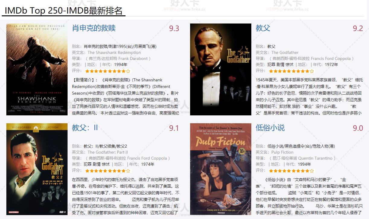 豆瓣& IMDB TOP250电影合集