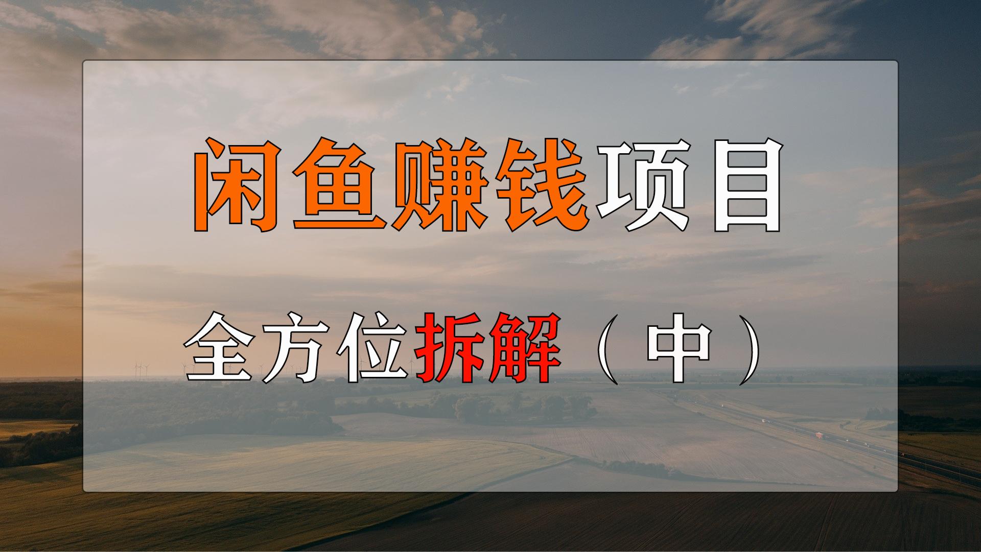 闲鱼赚钱项目玩法全方位拆解(中)