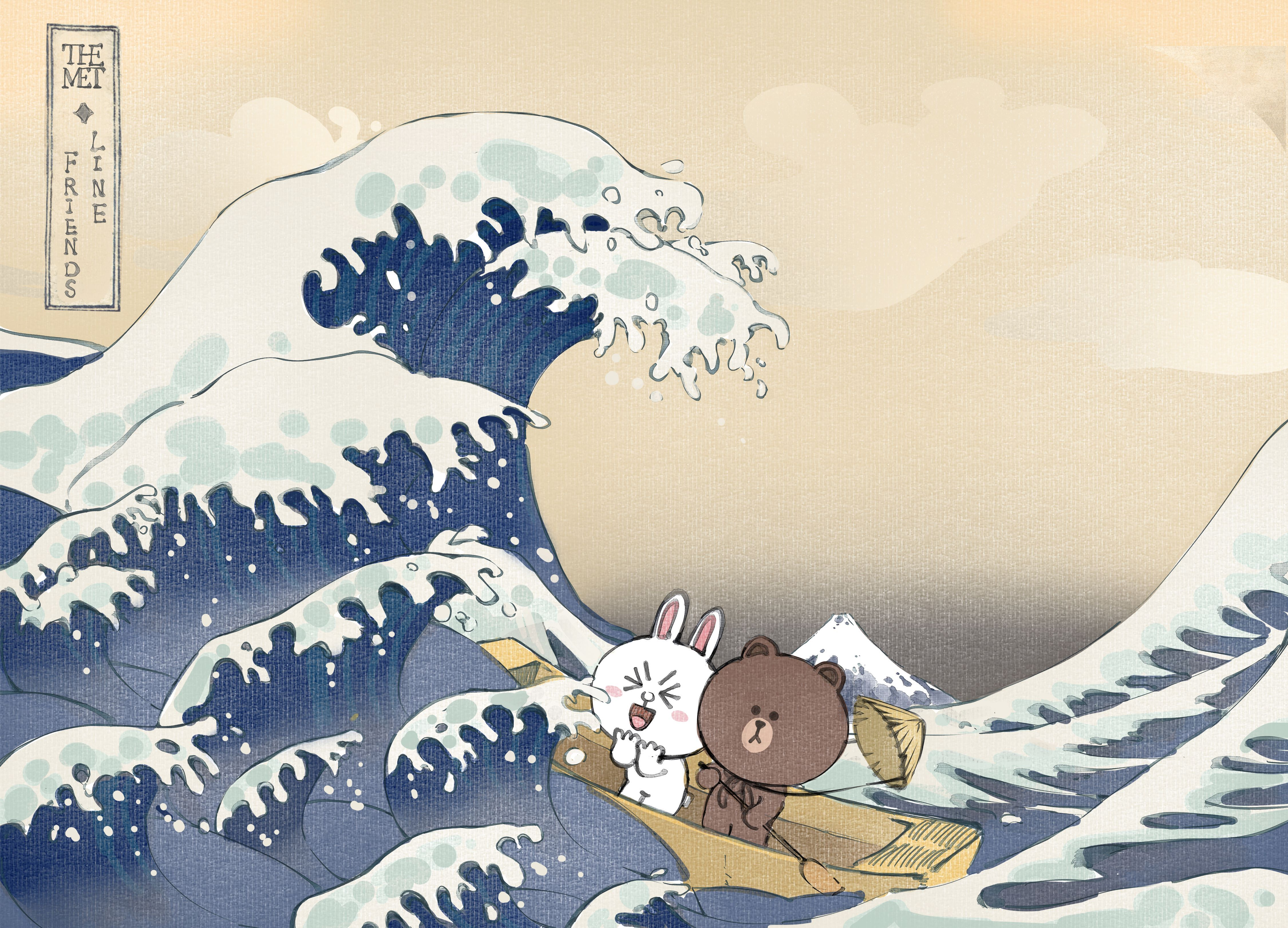 布朗熊可妮兔_神奈川冲浪里